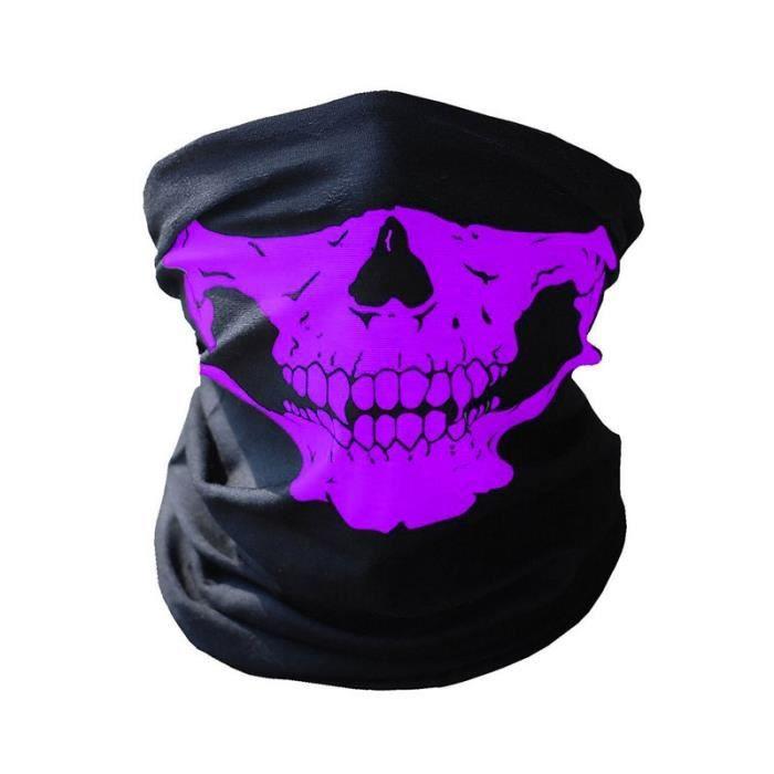 CAGOULE - TOUR DE COU cagoule tour de cou tête de mort violet pour moto