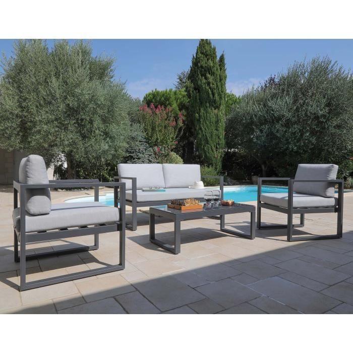 Salon de jardin en aluminium Dina 4 personnes Gris - Achat ...