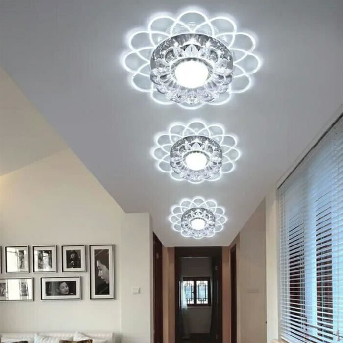 lampe de plafond lotus 5w led smd 5730 crystal lustre chambre couloir blanc 6000k achat. Black Bedroom Furniture Sets. Home Design Ideas