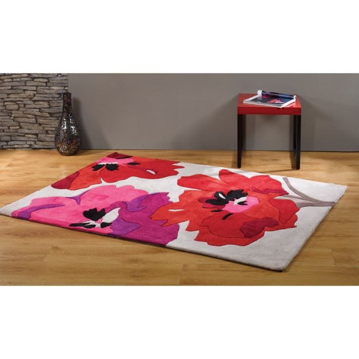 tapis moderne pas cher fleur bloom red cm 80x150 achat. Black Bedroom Furniture Sets. Home Design Ideas