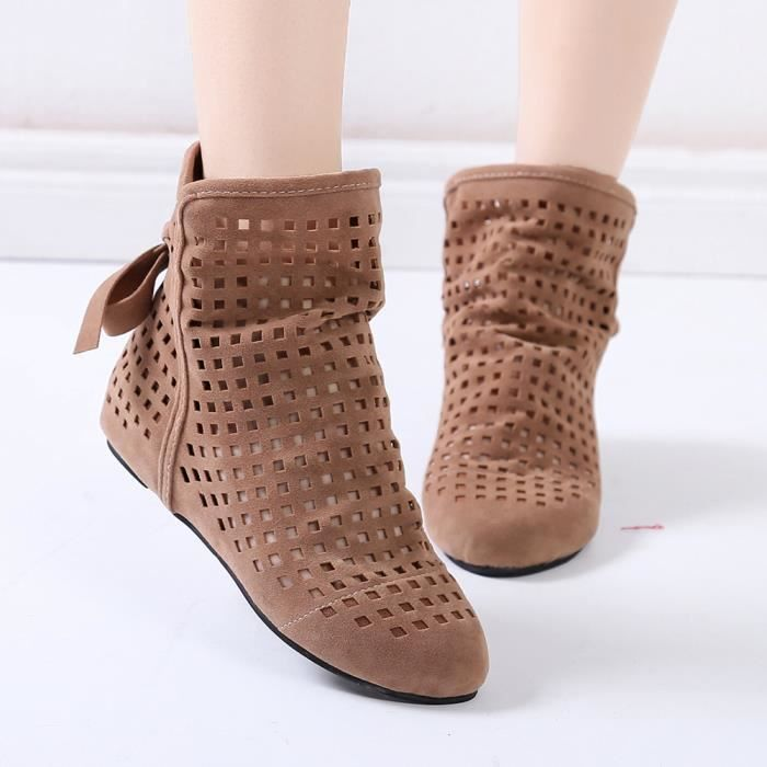 Low Cutout Shoes Booties Marron Femmes Cute Ankle Reservece Boots Wedges Casual Flat Hidden pawtZqx