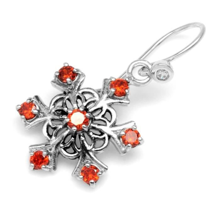 Orange Cz Argent 925 Snowflake Dangle Cluster crochet doreilles de femmes DATXT