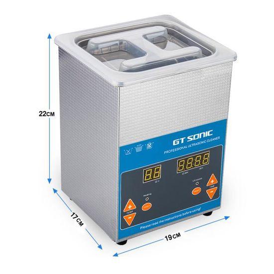 2L Nettoyeur à Ultrasons Professionnel Température Réglable Numérique 110W