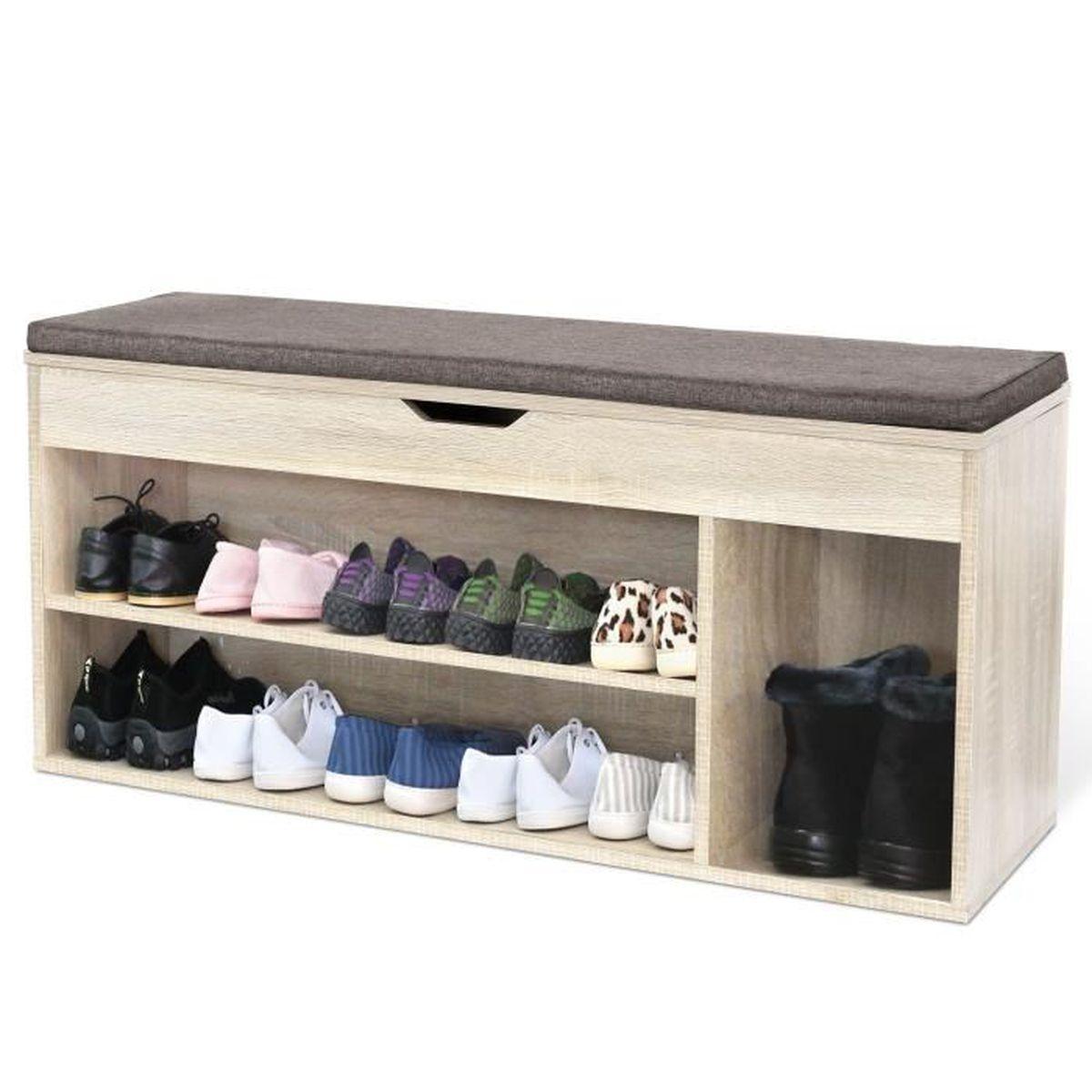 Meuble Rangement Chaussures Entree homfa meuble à chaussures banc de rangement 2 Étages en bois avec coussin  armoire à chaussures entrée commode à chaussures