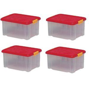 BAC DE RANGEMENT OUTILS 4 x Boîte de rangement plastique, transparente ave