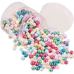Lot de 200 perles nacr/ées avec trou rose, 4 mm