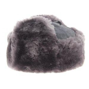 BONNET - CAGOULE Chapka Bleu-gris cuir et mouton - Wegener