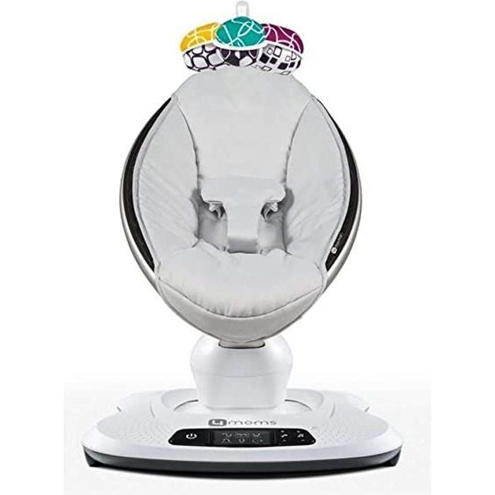 mamaroo 4 classic grey - balancelle bébé électrique qui bouge comme vous - 5 mouvements et 4 sons de la nature - bluetooth et mp3 -