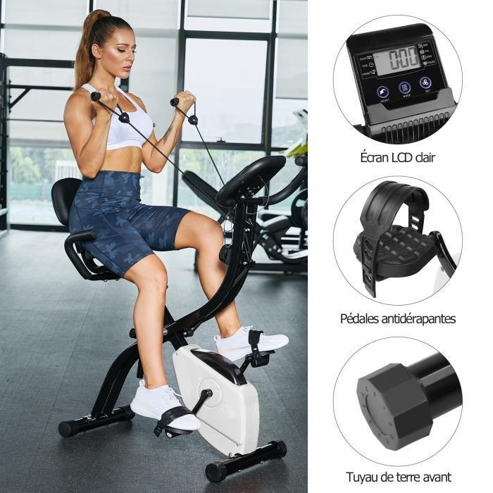 AKALNNY Vélo d'appartement pliable Vélo d'entraînement avec écran LCD à capteur de pouls manuel, siège confortable et poignées(blanc