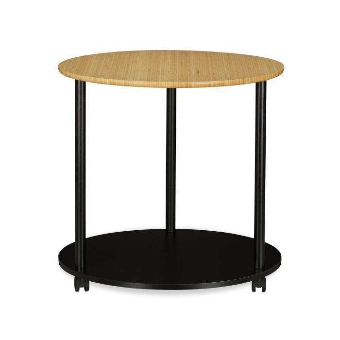 Table d'appoint ronde sur roulettes diamètre 60 cm bois et noir 13_0002658