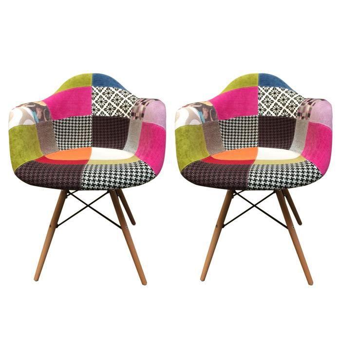 Jeu de 2 fauteuils tapissés patchwork - design tendance - pieds en hêtre – Collection RIVA