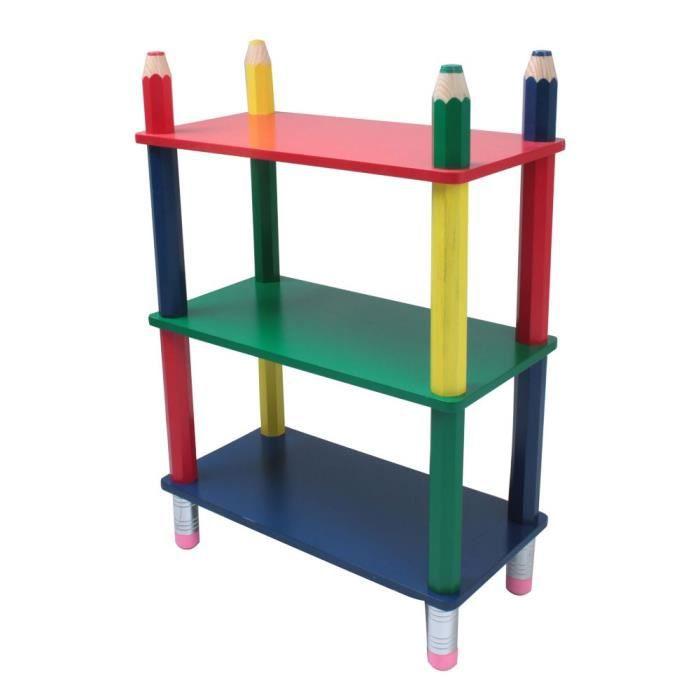Étagère multicolore bois chambre d'enfant design crayons de couleur rangement meuble
