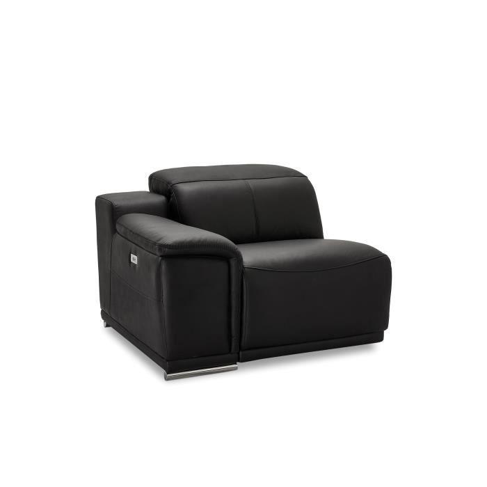 Furnhouse - Canapé modulable en cuir noir Alexa - bras 1 place Letf, 105x102x73 cm