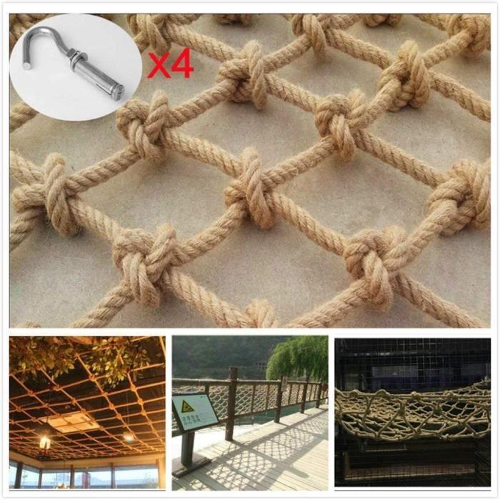 NMDCDH Filet de s&eacutecurité Protection de Balcon Filet d'escalade en Corde de Chanvre, apporte la Charge maximale pou72