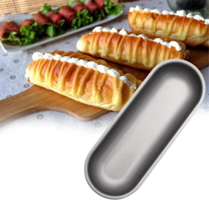 Ovale métal Hot Dog moule boîte en acier au carbone Hotdog moule antiadhésif machine à pain outil viande saucisse faisant moule