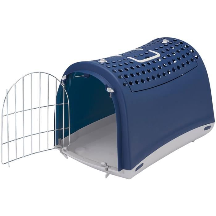 VADIGRAN Transport plastique Linus Cabrio - 50x32x34,5 cm - Bleu - Pour chat