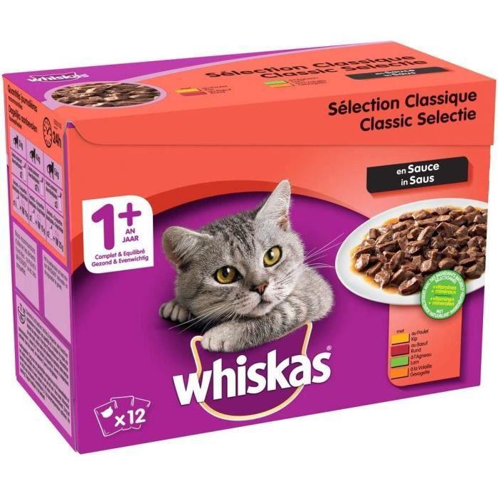 Whiskas Sélection classique en sauce Nourriture humide pour chat adulte Alimentation complète en sachets fraîcheur 4 x 12 x 1