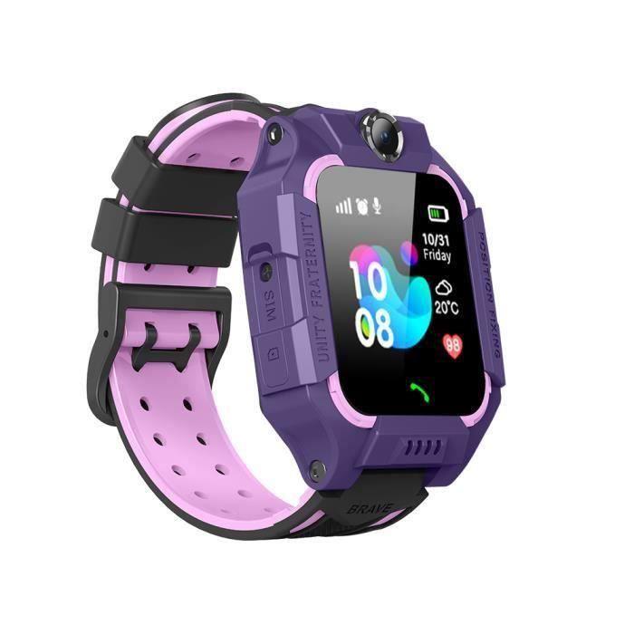 Montre Connectée Enfant 32 Mo + 32 Mo Violet Smartwatch LBS Tracker avec Caméra Appel SOS Calendrier Réveil pour Android iOS