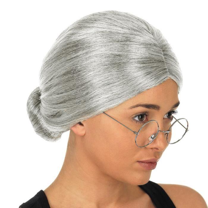 Vieille dame grand-mère granny perruque grise chignon cheveux grande mère déguisement perruque 1444