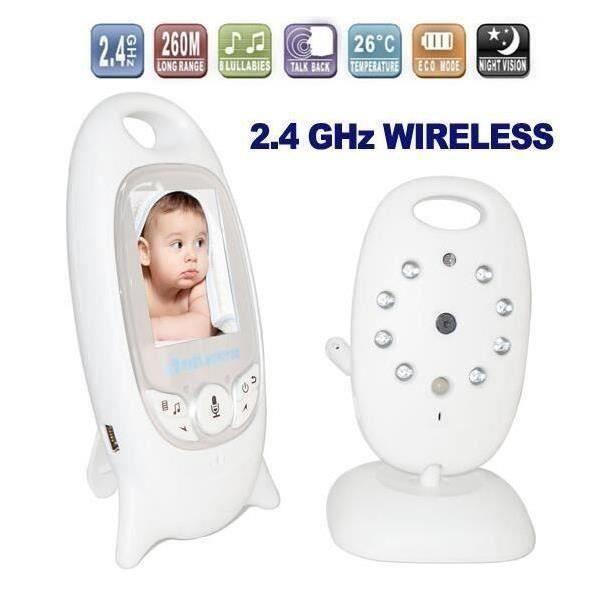 WH Bébé Moniteur 2 - LCD Couleur Babyphone 2.4 GHz Vidéo Numérique Baby + Caméra Vidéosurveillance Sans Fil 2 Voies IR Audio Bidire