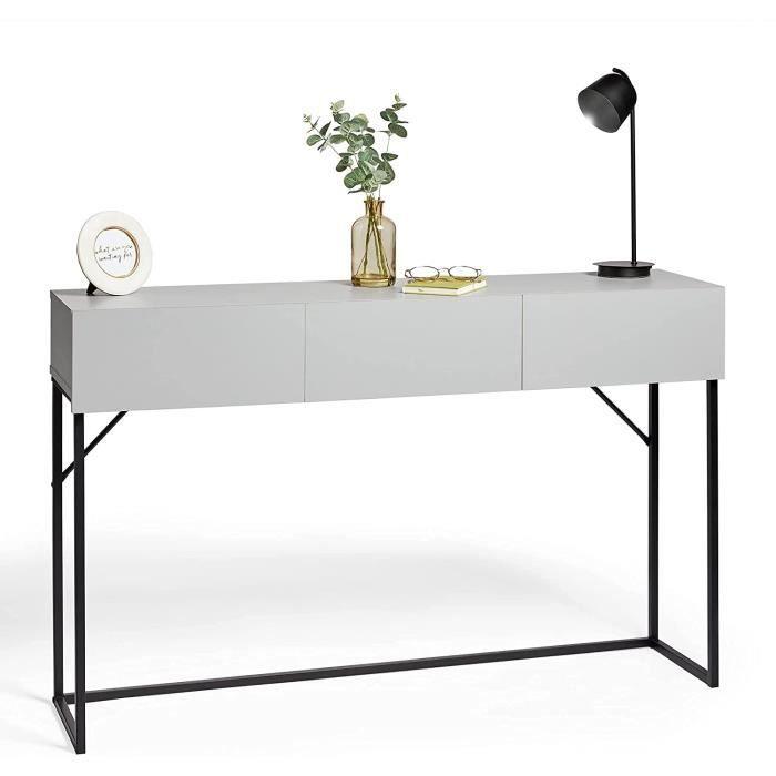 VonHaus Table console avec 3 tiroirs et structure en métal plaqué bois gris - Table console multi-usage avec tiroirs - Design m377