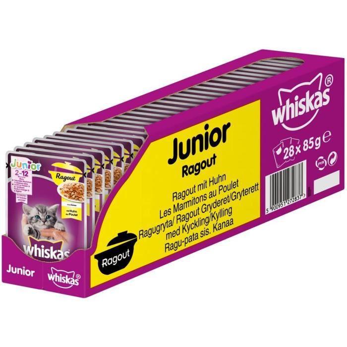 Whiskas Junior Ragout - Poulet en gelée - pour Chat de 2 à 12 Mois - 28 sachets de 85g