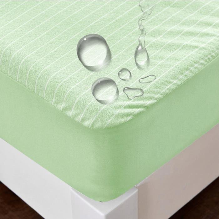 Protège matelas imperméable Alèse 140*190cm Hauteur 30 cm vert Lavable en machine Anti-Bactérien Anti-Acarien Anti-Moisissures