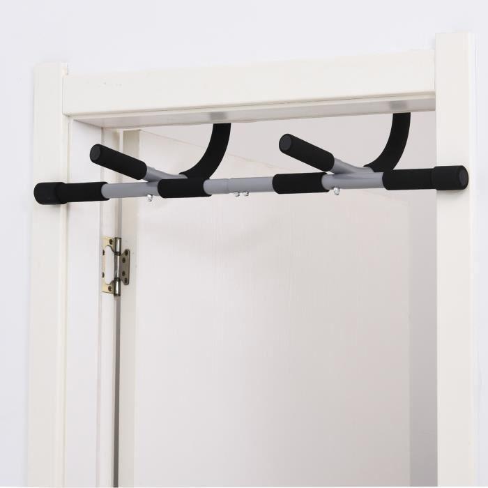 Barre de traction - barre de porte - pull up bar - barre d'étirement musculation pour cadres de porte - acier gris 92x40x17cm Noir