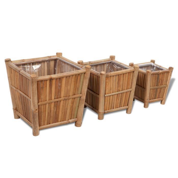 3PCS Pots de Fleurs en Bambou naturel avec doublure en nylon pour jardin terrasse véranda Haute qualité