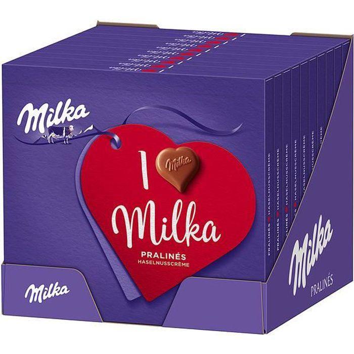 Milka I love Milka Pralinés à la crème de noisettes 110g (Pack de 10)