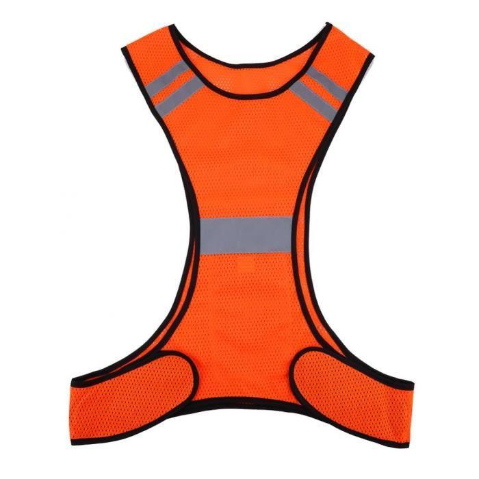 Gilet de sécurité réfléchissant haute visibilité Vêtements de sécurité de course de nuit Taille réglable - royalachat
