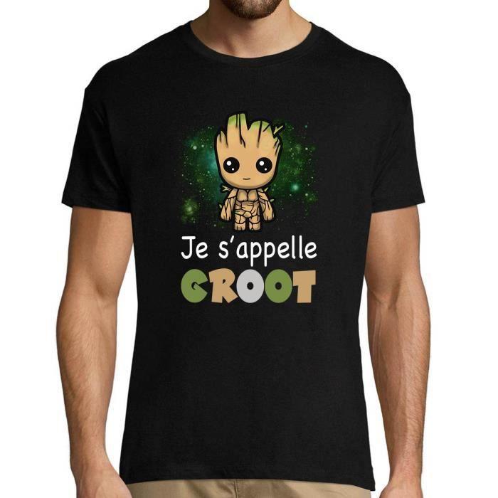 T-Shirt Homme Je s'appelle Groot - Modèle Design Le Plus Mignon Cute de la Galaxie - T-Shirt col Rond (S - XXL)