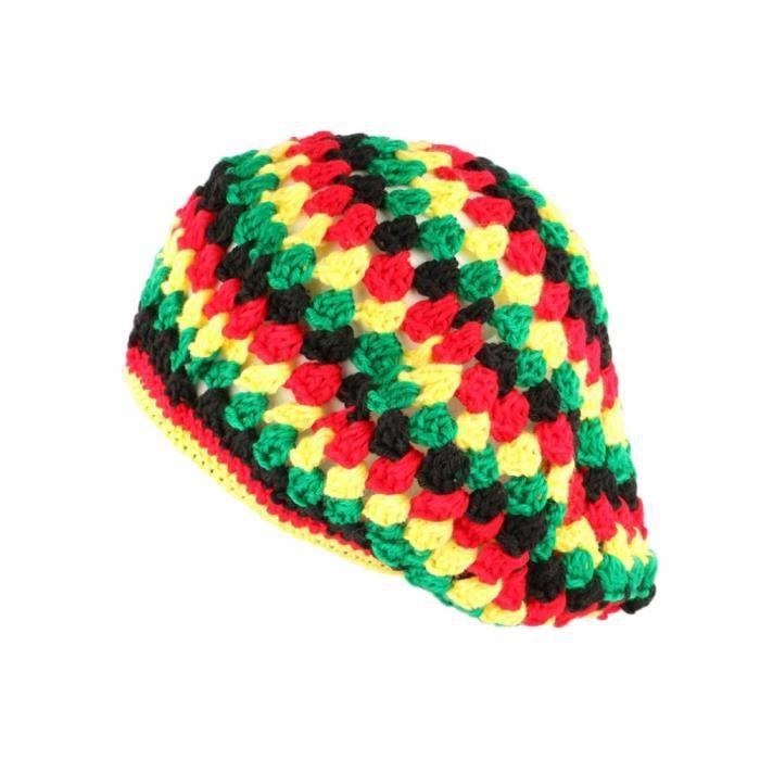 Beret Bonnet Rasta jaune vert rouge oversize Raygo - Rouge - Taille unique
