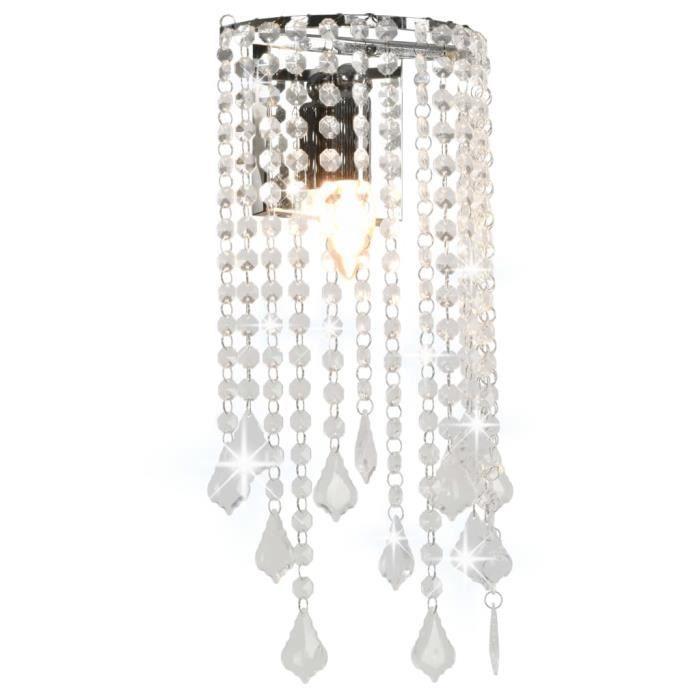 Plafonnier-Lustre Suspension et perles cristal Argenté Rectangulaire Ampoules E14