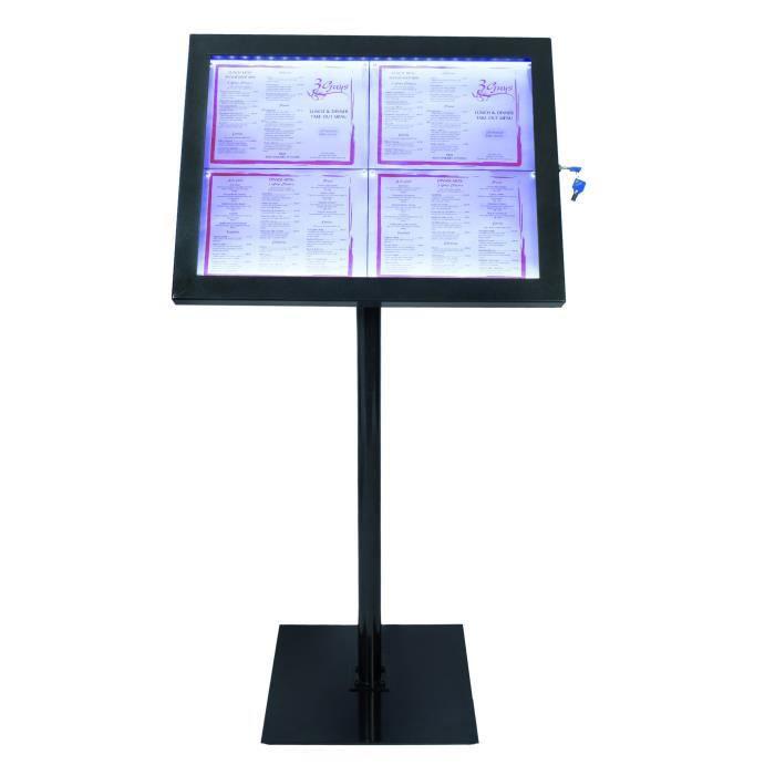 Présentoir menu en acier galvanisé modèle BLACK STAR Securit® - Cadre noir - éclairage LED blanc - 138x50x40cm