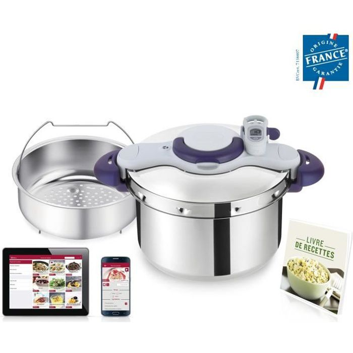 SEB P4624900 Autocuiseur Cocotte-minute CLIPSO MINUT PERFECT - 9L - Toux feux dont induction - Fabriqué en France - Inox et violet