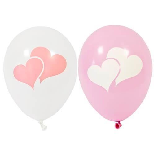 Ballon latex mariage coeur blanc et rose 28cm (x8) REF/BAL241