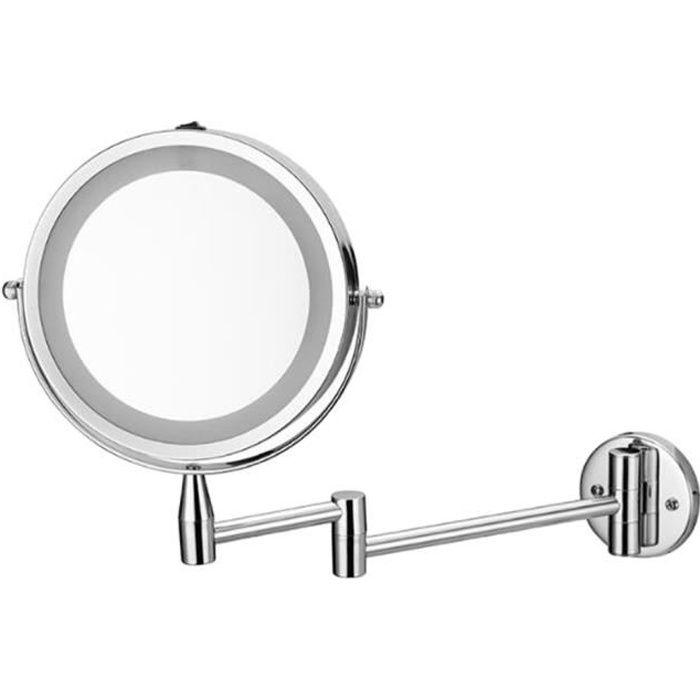 Miroir Rond Grossissant 1X / 3X Mural Lumineux à LED Miroir Salle de Bain Miroir Murale 360 Degrés Rotation, Extensible 40cm