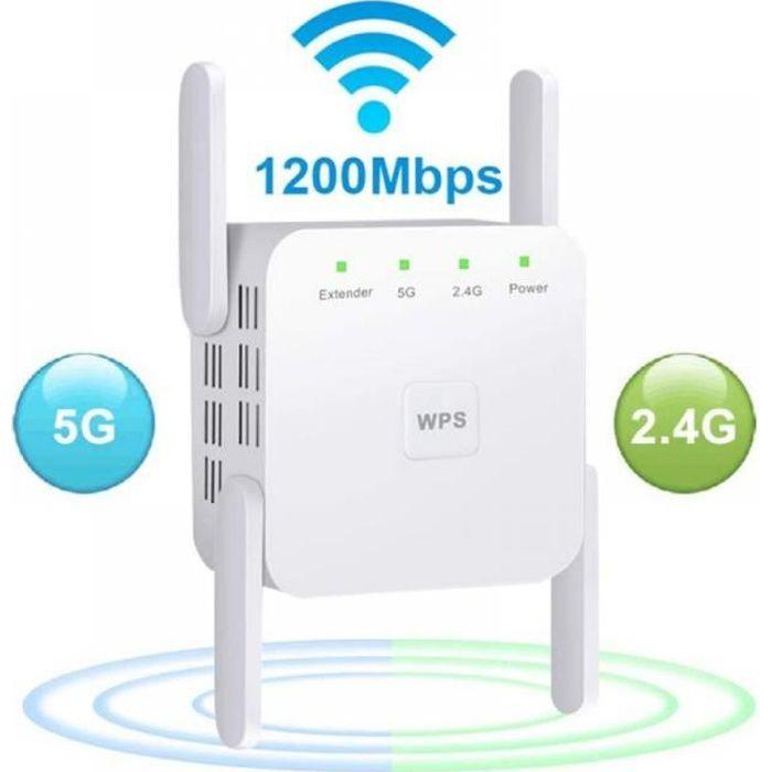 Répéteur WiFi Sans Fil 2.4G - 5G, Utilisé Pour Amplifier et Améliorer le Signal à Longue Portée-Blanc (Europe)