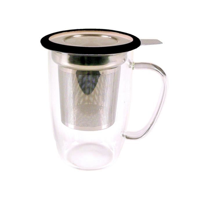 YOKO DESIGN Mug tastea en verre avec filtre inox coupelle - Coloris noir - 450 ml