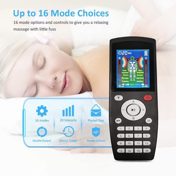 Electrostimulateur TENS - Système de relaxation musculaire Ems avec USB chargement -20 Niveaux d'intensité /4 Canaux - 8 Électrodes(