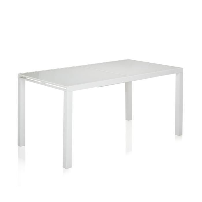 Pure table en verre et acier avec allonge papillon 12 for Table a manger 12 couverts