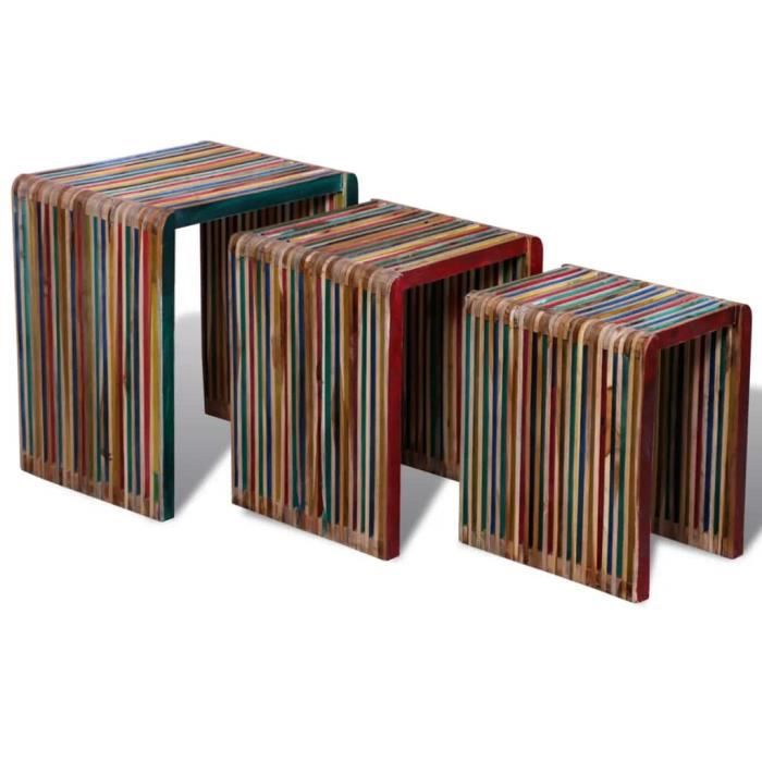 TABLE BASSE MILLIONTEK Table gigogne 3 pcs Teck recyclé coloré