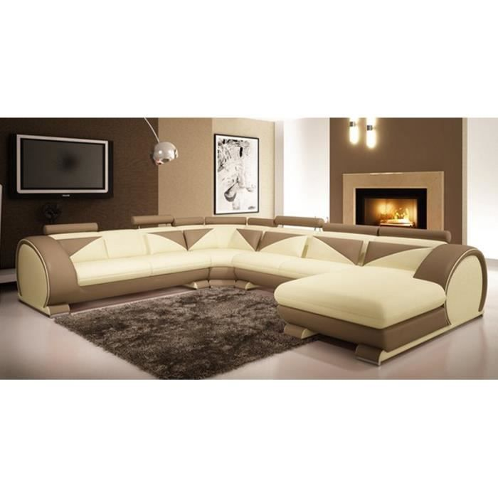 canap d 39 angle panoramique cuir beige et marron achat vente canap sofa divan cuir. Black Bedroom Furniture Sets. Home Design Ideas
