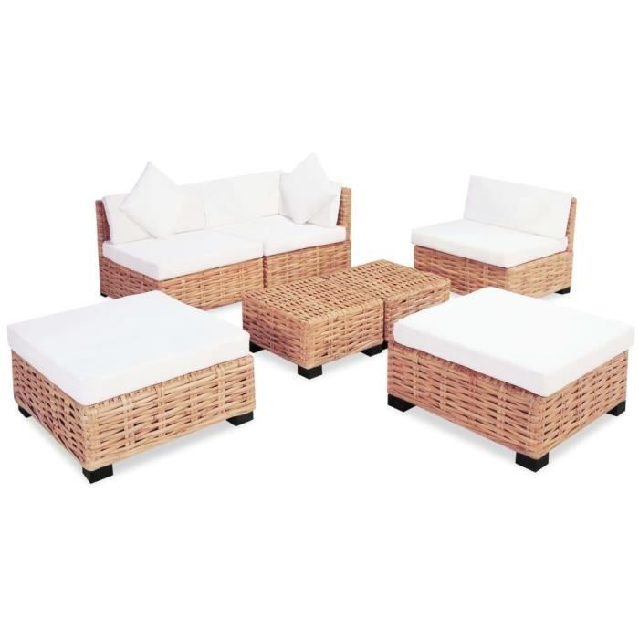 Ensembles de meubles de salon-sejour Couleur du rotin : Marron Couleur du  coussin : Blanc Materiau du cadre : rotin