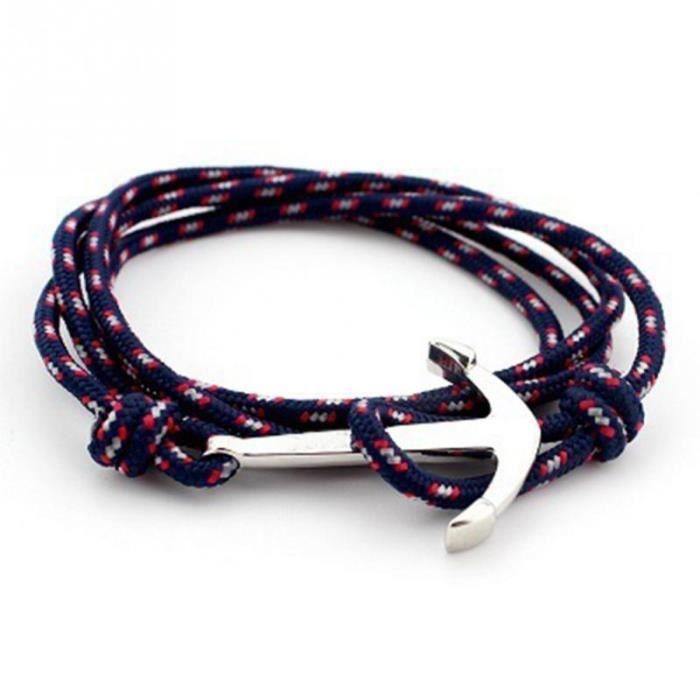 BRACELET - GOURMETTE Bracelet Corde Homme Femme Ancre Marin Crochet