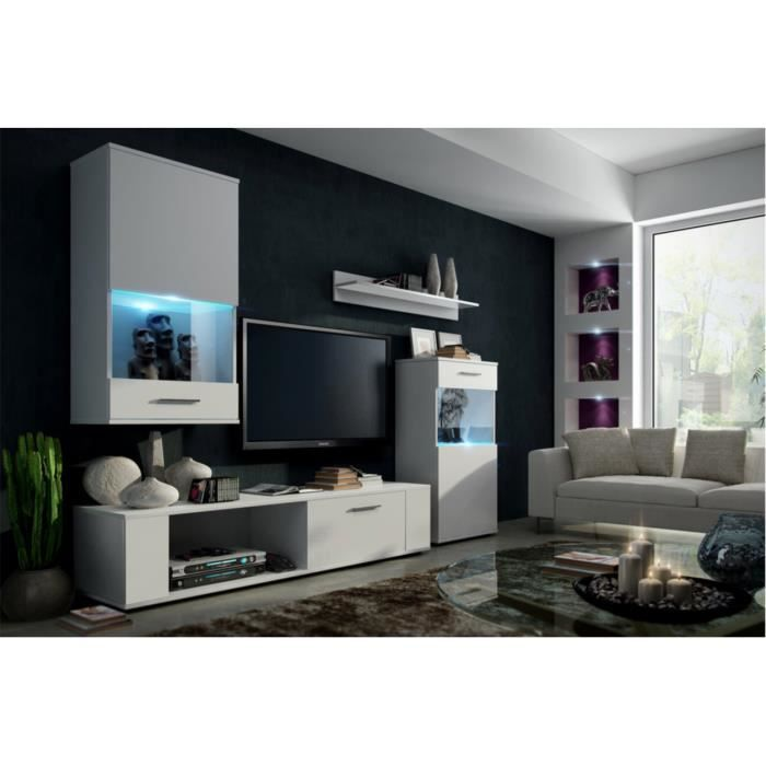 meuble de salon meuble tv complet como corps blanc mat. Black Bedroom Furniture Sets. Home Design Ideas