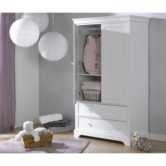 armoire bebe 2 portes blanche blanc blanc achat. Black Bedroom Furniture Sets. Home Design Ideas