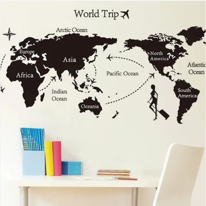 dm57 0168 voyage autour du monde stickers muraux carte du monde grande r gion fonds d 39 cran noir. Black Bedroom Furniture Sets. Home Design Ideas
