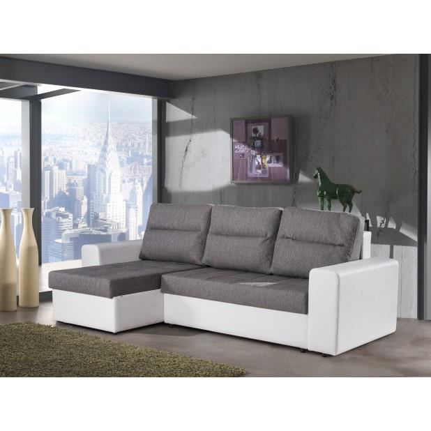 canap d 39 angle convertible gris blanc elsa achat vente canap sofa divan les soldes. Black Bedroom Furniture Sets. Home Design Ideas